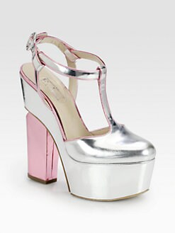 Nicholas Kirkwood - Metallic Leather T-Strap Mary Jane Platform Pumps