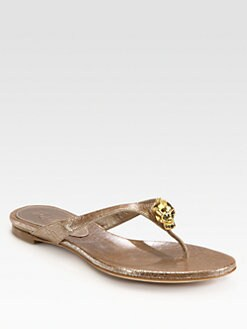 Alexander McQueen - Metallic Leather Skull Thong Sandals