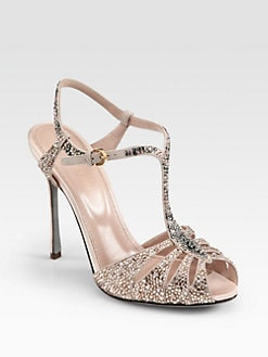 Sergio Rossi - Crystal-Coated Satin T-Strap Sandals