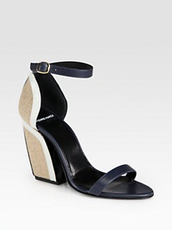 Pierre Hardy - Leather & Raffia Block Heel Sandals