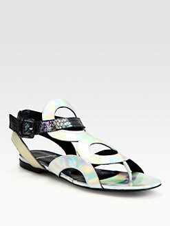 Pierre Hardy - Cutout Metallic Patent Leather & Snakeskin Sandals