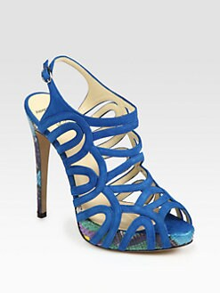 Alexandre Birman - Strappy Suede and Python Slingback Sandals