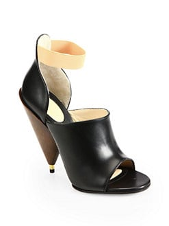Givenchy - Leather Wooden Heel Sandals