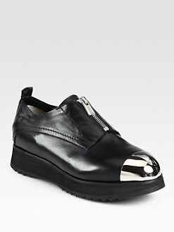 Costume National - Alabama Zip-Front Leather Platform Oxfords