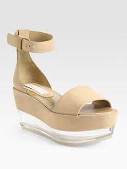 Stella McCartney - Faux Suede Glass Wedge Sandals
