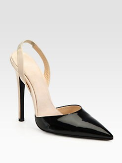 Giambattista Valli - Patent Leather & Satin Slingback Pumps