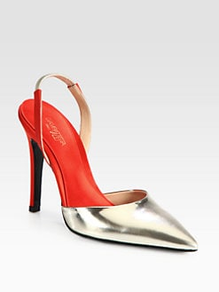 Giambattista Valli - Metallic Leather & Satin Slingback Pumps