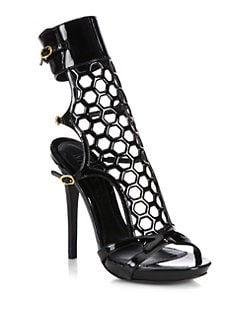 Alexander McQueen - Patent Leather Strappy Ankle Boots