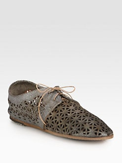 Marsell - Cutout Metallic Leather Lace-Up Oxfords