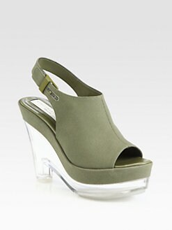 Stella McCartney - Canvas Plexi Wedge Slingback Sandals