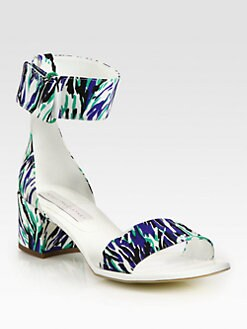 Stella McCartney - Animal-Print Canvas Ankle Strap Sandals