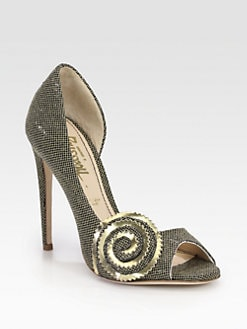 Jerome C. Rousseau - Pulce Glitter & Metallic Leather Swirl Pumps