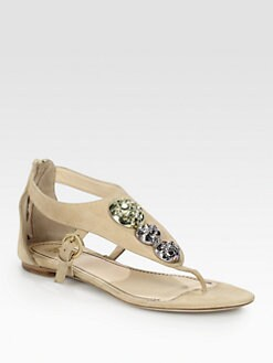 Jerome C. Rousseau - Sumo Stone-Encrusted Suede Sandals