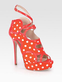 Jerome C. Rousseau - Treide Polka Dot Satin & Leather Platform Sandals