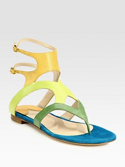 Paul Andrew - Sahara Leather & Suede Thong Sandals