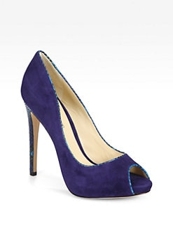 Alexandre Birman - Suede & Python-Trimmed Platform Pumps