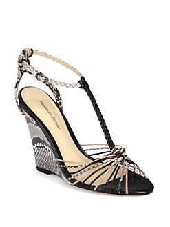Alexandre Birman - Braided Leather & Python Wedge Sandals