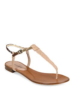 Alexandre Birman - Braided Python & Leather Thong Sandals