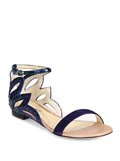 Alexandre Birman - Flower Cutout Python & Suede Sandals