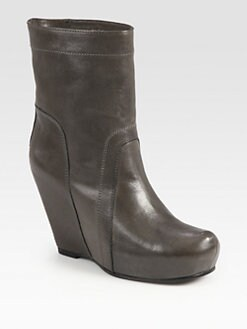 Rick Owens - Leather Wedge Ankle Boots