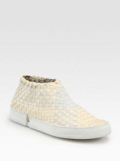 Edmundo Castillo - Emanuelle Woven Leather & Canvas Laceless Sneakers