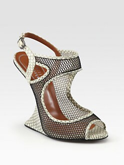 Edmundo Castillo - Chica Snakeskin & Mesh Wedge Sandals