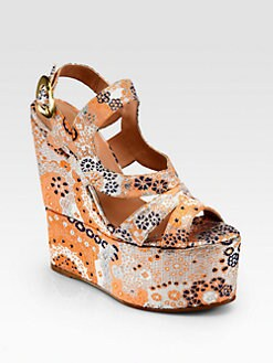 Edmundo Castillo - Manhattan Silk Brocade Wedge Sandals