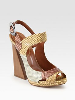 Edmundo Castillo - Abah Snakeskin Pyramid Wooden Heel Sandals