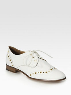 Pollini - Studded Leather Lace-Up Oxfords