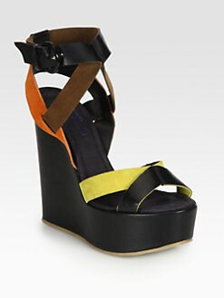 Pollini - Leather & Suede Wedge Sandals