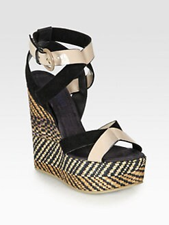 Pollini - Patent Leather & Suede Woven Wedge Sandals