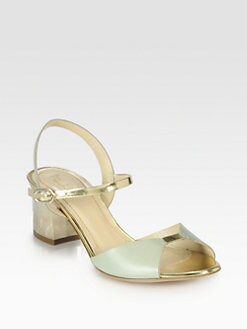 Pollini - Metallic Leather Ankle Strap Sandals