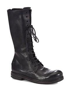 Marsell - Tall Leather Lace-Up Combat Boots