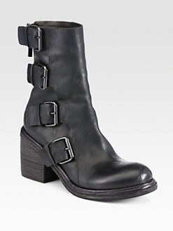 Marsell - Leather Buckle Combat Boots