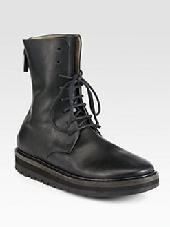 Marsell - Short Leather Lace-Up Combat Boots