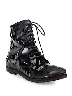 Marsell - Patent Leather Lace-Up Combat Boots