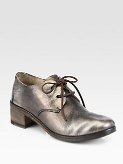Marsell - Metallic Leather Lace-Up Oxford Loafers