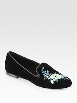 Christopher Kane - Bouquet Embroidered Velvet Smoking Slippers