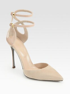 Sergio Rossi - Suede & Patent Leather Ankle Strap Pumps