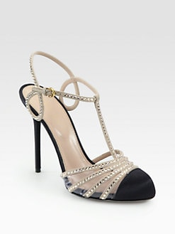 Sergio Rossi - Crystal-Coated Suede T-Strap Pumps