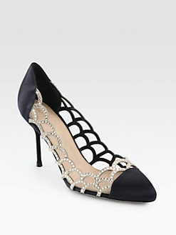 Sergio Rossi - Satin & Crystal-Coated Suede Mermaid Pumps