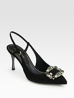 Sergio Rossi - Jeweled Suede Slingback Pumps