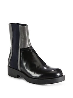 Jil Sander Navy - Chelsea Patchwork Leather Ankle Boots