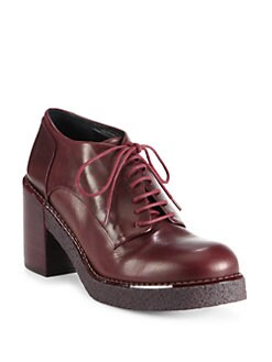 Jil Sander Navy - Leather Lace-Up Platform Oxfords