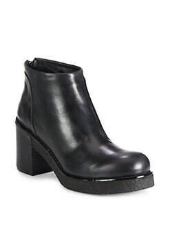 Jil Sander Navy - Leather Platform Ankle Boots