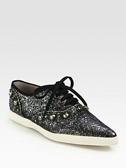 Marc Jacobs - Glitter Cabouchon Lace-Up Sneakers