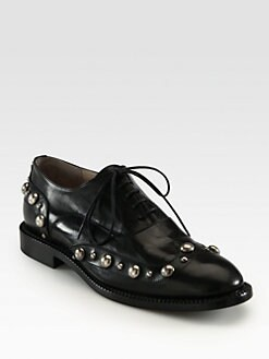 Marc Jacobs - Leather Lace-Up Cabouchon Oxfords