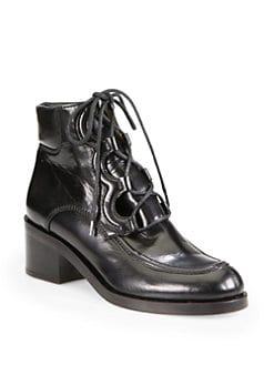 Stella McCartney - Anja Faux Leather Lace-Up Ankle Boots