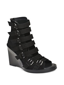 Ann Demeulemeester - Multi Buckle Suede Wedge Sandals