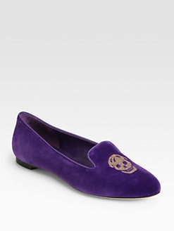 Alexander McQueen - Velvet Skull Smoking Slippers